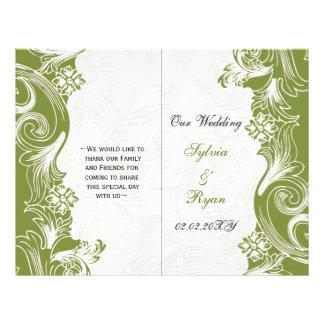 "Elegant green floral bi fold Wedding program 8.5"" X 11"" Flyer"