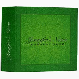 Elegant Green Floral Design Suede Leather Look 3 Ring Binder