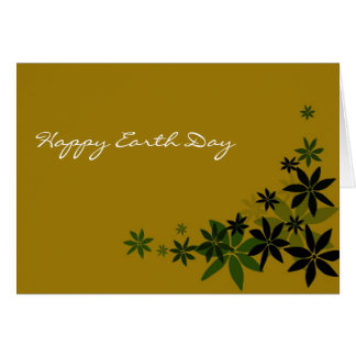 Elegant green floral leaves happy earth day card
