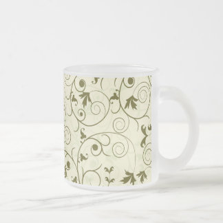 Elegant green floral Pattern Design Frosted Glass Coffee Mug