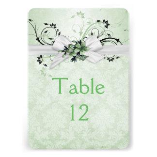 Elegant Green Floral Ribbon Damask Table card