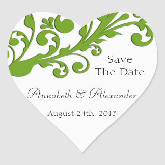 Elegant Green Floral Save The Date Heart Sticker
