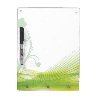 Elegant Green Floral Swirl Dry Erase Board
