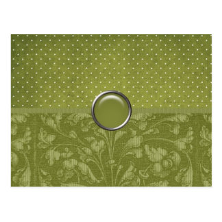 Elegant Green Floral with Dots Postcard