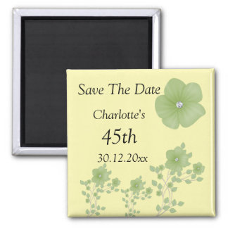 Elegant Green Flowers With Diamonds 2 Inch Square Magnet