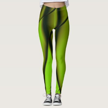 Elegant Green Fractal Design Leggings