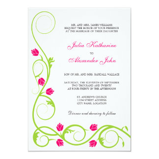 Elegant Green Fuchsia Swirls Wedding Invitation