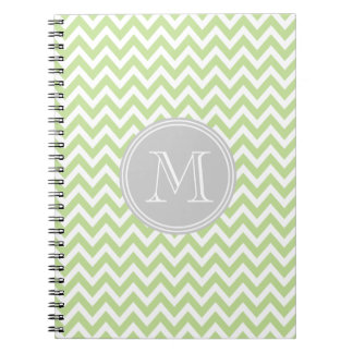 Elegant green geometry of chevrón and monograma spiral notebook