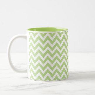 Elegant green geometry of chevrón files Two-Tone coffee mug