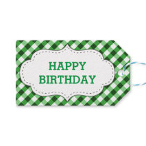 Elegant Green Gingham Pattern Customized Birthday Gift Tags