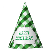 Elegant Green Gingham Pattern Customized Birthday Party Hat