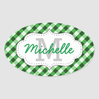 Elegant Green Gingham Pattern Personalized Name Oval Sticker