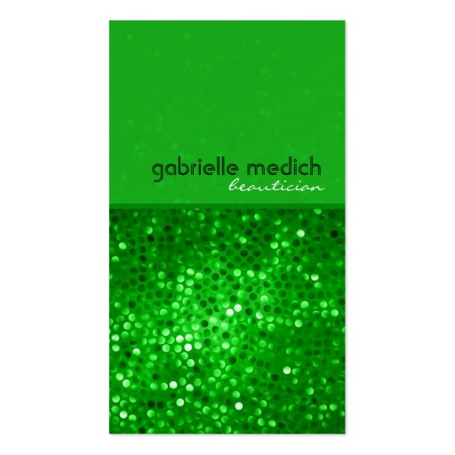 Elegant Green Glitter Beautician Business Card Business Card