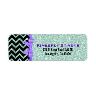 Elegant Green Glitter Black Chevron Purple Accents Label
