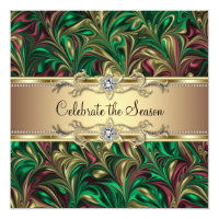 Elegant Green Gold Christmas Party Card