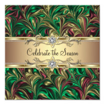 Elegant Green Gold Christmas Party Invitation