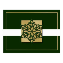 elegant green gold  Corporate Holiday Greeting s Postcard