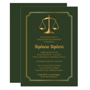 Elegant Green | Gold Law Attorney Graduation Party Invitation