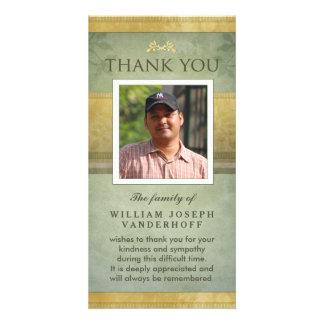 Elegant Green & Gold Memorial Thank You Card