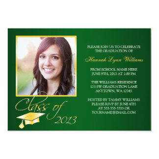 "Elegant Green Gold Photo Graduation Announcement 5"" X 7"" Invitation Card"