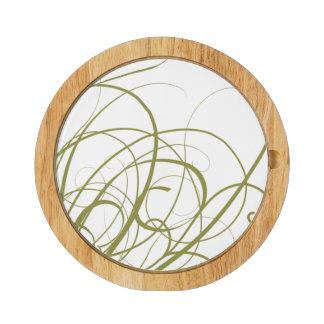 Elegant green gold swirls round cheese board
