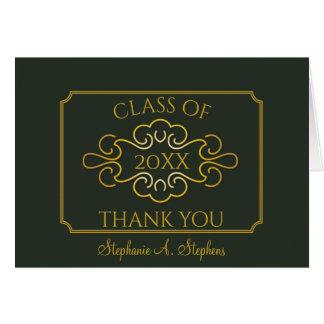 Elegant Green Gold University Graduation Thank You Card