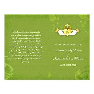 Elegant Green Irish Bi Fold Wedding Programs