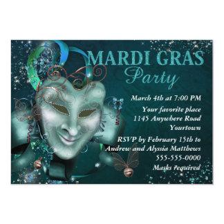 """Elegant Green Jester Mask Mardi Gras Party Invite 5"""" X 7"""" Invitation Card"""
