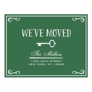 Elegant Green Key Moving Announcement Postcard