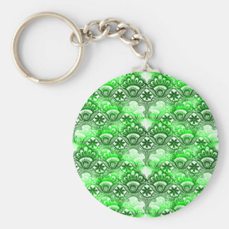 Elegant Green Lace Damask Distressed Pattern Basic Round Button Keychain