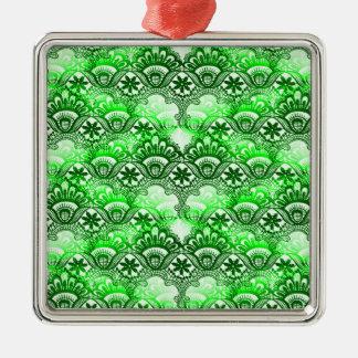 Elegant Green Lace Damask Distressed Pattern Metal Ornament