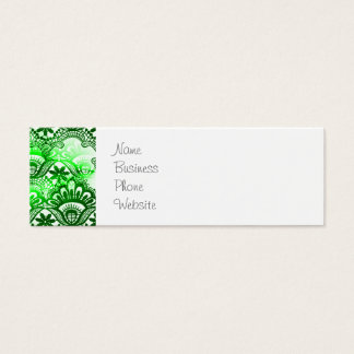 Elegant Green Lace Damask Distressed Pattern Mini Business Card
