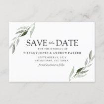 Elegant Green Leaf Wedding Save The Date