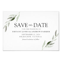 Elegant Green Leaf Wedding Save The Date Card