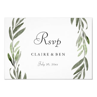 Elegant Green Leaf Wreath Wedding RSVP Card