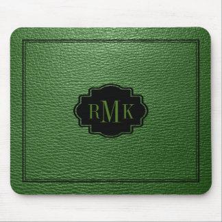 Elegant Green Leather Texture Black Frame Mouse Pad