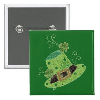 Elegant green leprechaun's hat w/ polka dots button
