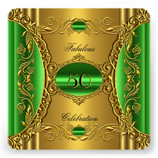 Elegant Green Lime Gold Fabulous 50th Birthday Personalized Invitations
