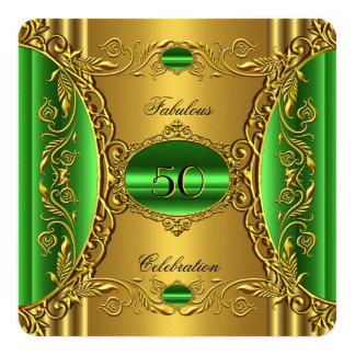 Elegant Green Lime Gold Fabulous 50th Birthday 5.25x5.25 Square Paper Invitation Card