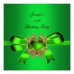 Elegant Green Lime Jewel Bow Birthday Party Custom Invitations
