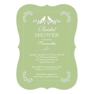 Elegant Green Love Birds Bridal Shower Card