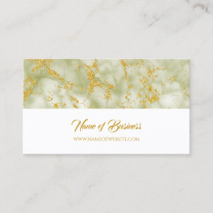 Elegant Green Marble With Faux Gold Glitter Business Card