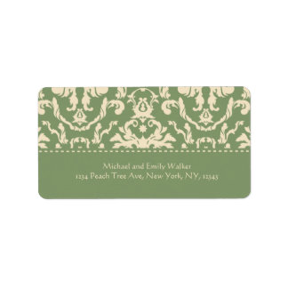 Elegant Green n Off White Damask Address Label