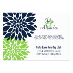Elegant Green Navy Floral Burst Reception Cards Business Card Templates