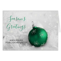 Elegant Green Ornament Festive Company Holiday Card