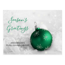 Elegant Green Ornament Festive Company Holiday Postcard