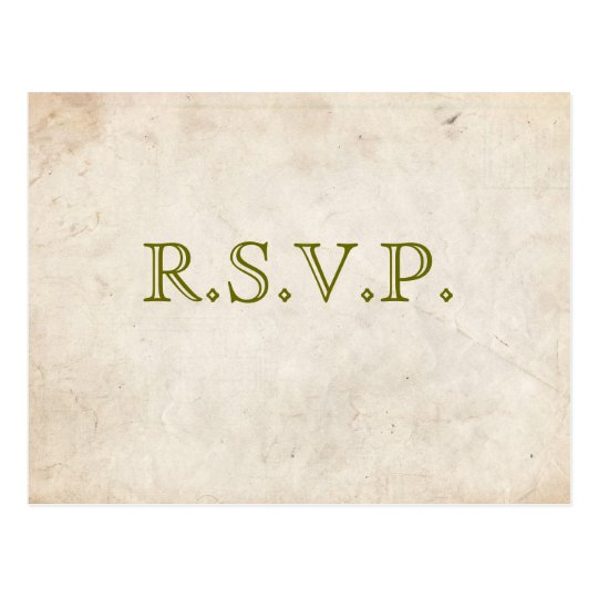 Elegant Green Parchment RSVP Card