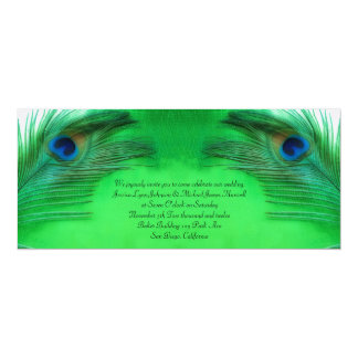 Elegant Green Peacock Feather Wedding Invitation