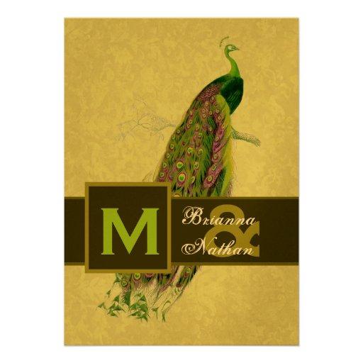 Elegant Green Peacock Metallic Wedding Custom Invitations