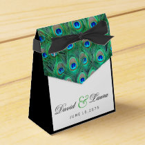 Elegant Green Peacock Wedding Favor Box